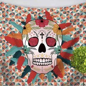 Feather Sugar Skull Tapestry